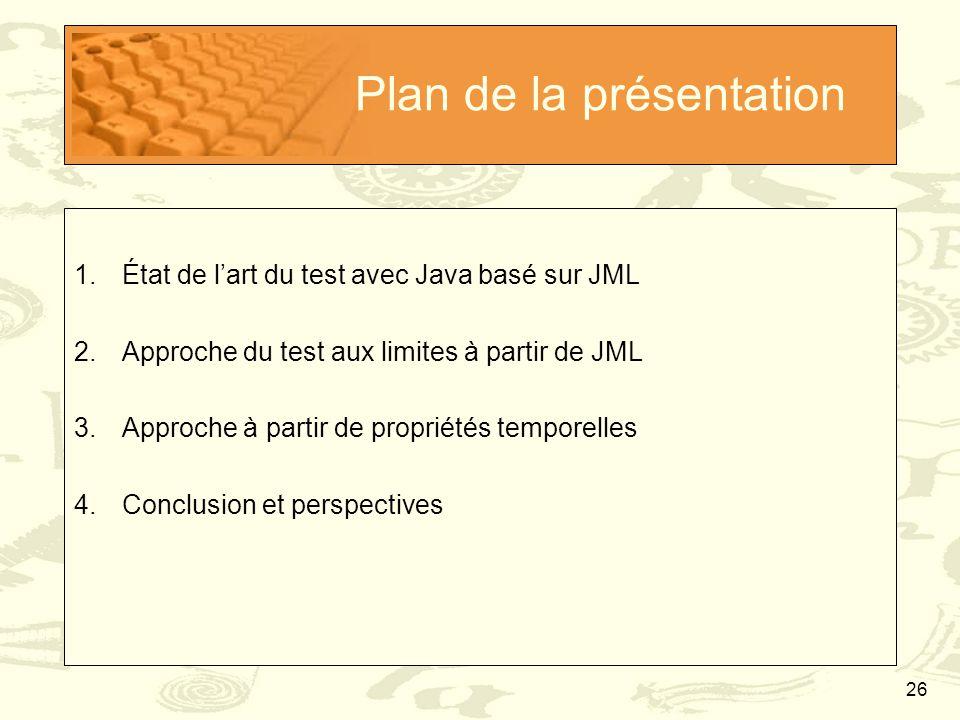 26 Plan de la présentation 1.État de l'art du test avec Java basé sur JML 2.Approche du test aux limites à partir de JML 3.Approche à partir de propri
