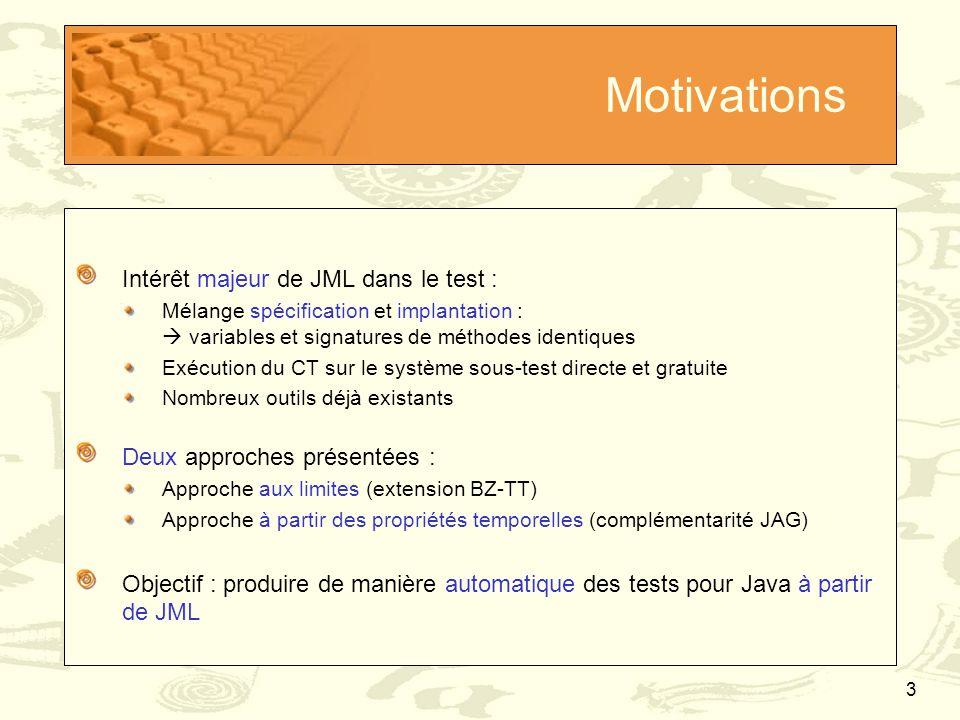4 Motivations Spécification Java/JML Compilation avec jmlc Bytecode enrichi Extraction des cibles de tests Calcul des séquences de test Critères de couverture de la spécification Paramètres de la génération de tests Production de cas de tests Fichiers.