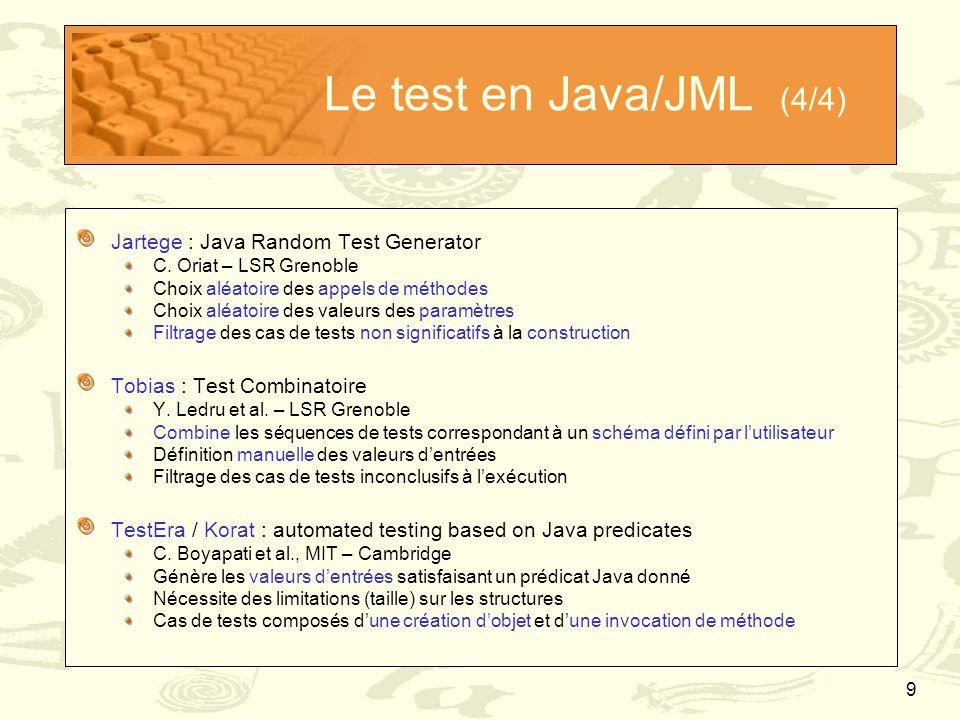 9 Le test en Java/JML (4/4) Jartege : Java Random Test Generator C. Oriat – LSR Grenoble Choix aléatoire des appels de méthodes Choix aléatoire des va