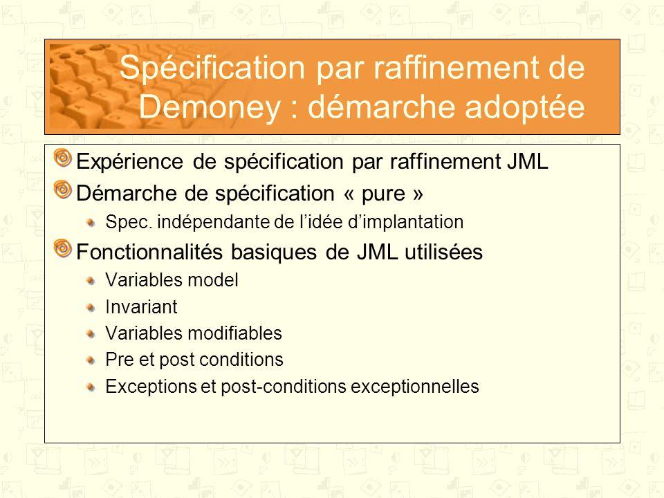 Spécification par raffinement de Demoney : démarche adoptée Expérience de spécification par raffinement JML Démarche de spécification « pure » Spec.