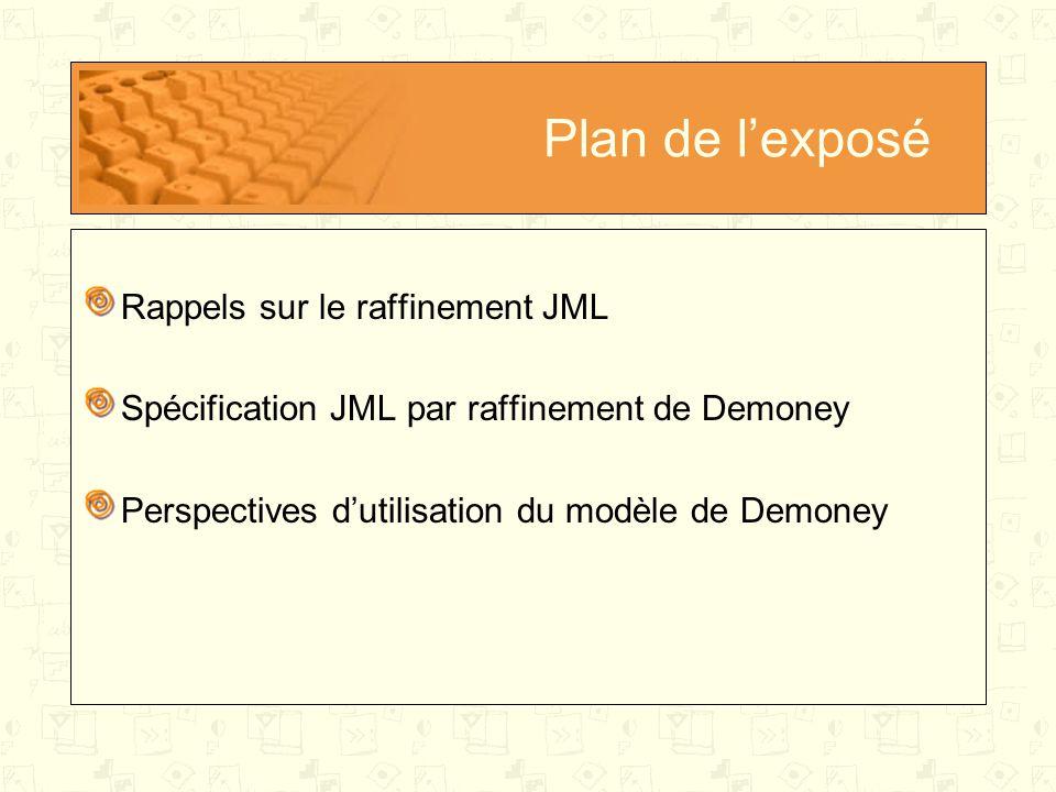 Plan de l'exposé Rappels sur le raffinement JML Spécification JML par raffinement de Demoney Perspectives d'utilisation du modèle de Demoney