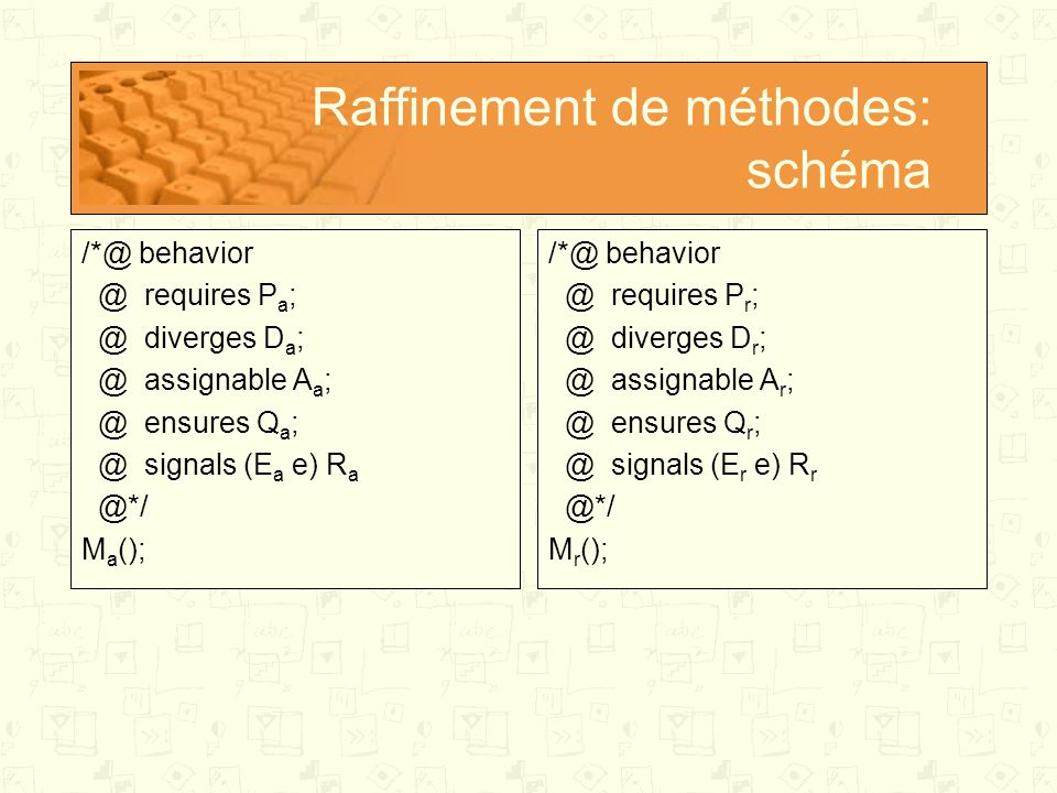 Raffinement de méthodes: schéma /*@ behavior @ requires P a ; @ diverges D a ; @ assignable A a ; @ ensures Q a ; @ signals (E a e) R a @*/ M a (); /*@ behavior @ requires P r ; @ diverges D r ; @ assignable A r ; @ ensures Q r ; @ signals (E r e) R r @*/ M r ();