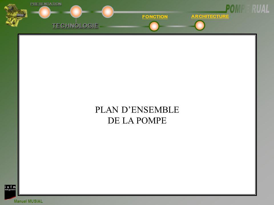 Manuel MUSIAL TECHNOLOGIE FONCTION ARCHITECTUREPRESENTATION PLAN D'ENSEMBLE DE LA POMPE
