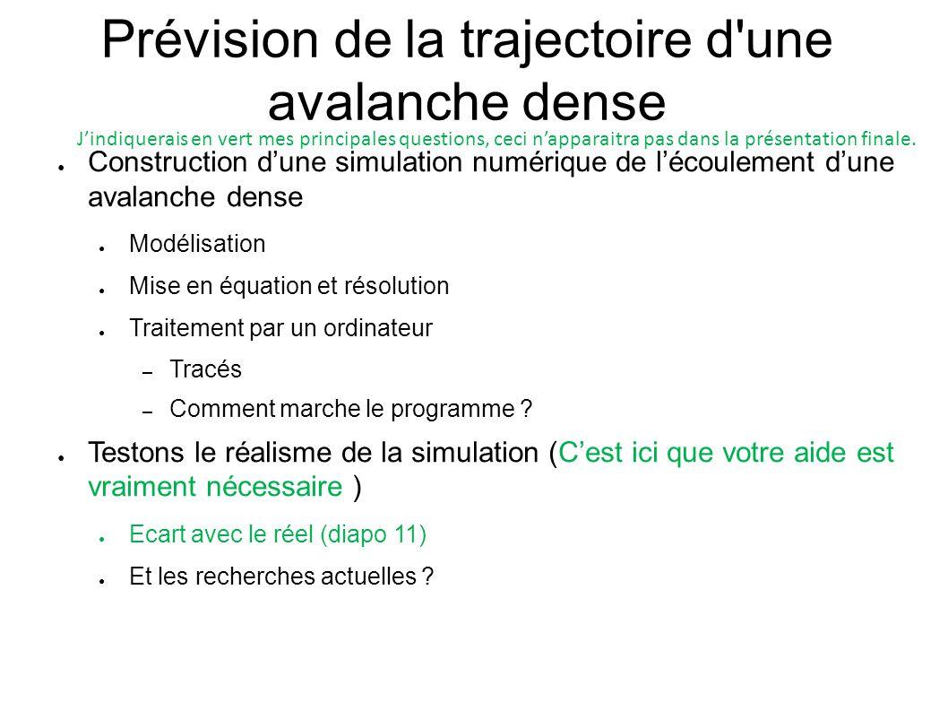 Prévision de la trajectoire d'une avalanche dense ● Construction d'une simulation numérique de l'écoulement d'une avalanche dense ● Modélisation ● Mis