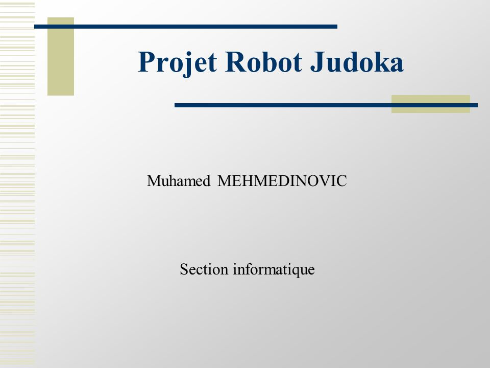 Projet Robot Judoka Muhamed MEHMEDINOVIC Section informatique