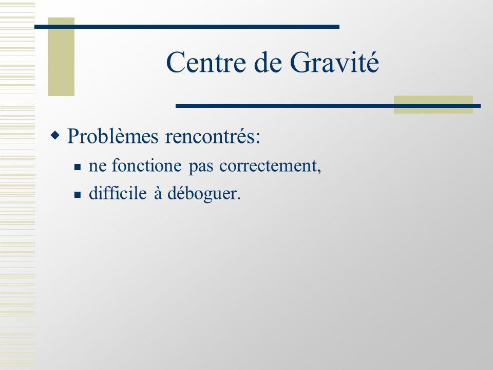 Centre de Gravité  Problèmes rencontrés: ne fonctione pas correctement, difficile à déboguer.