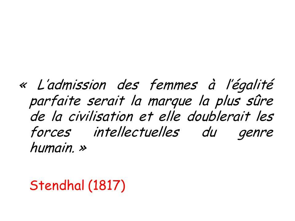 « L'admission des femmes à l'égalité parfaite serait la marque la plus sûre de la civilisation et elle doublerait les forces intellectuelles du genre