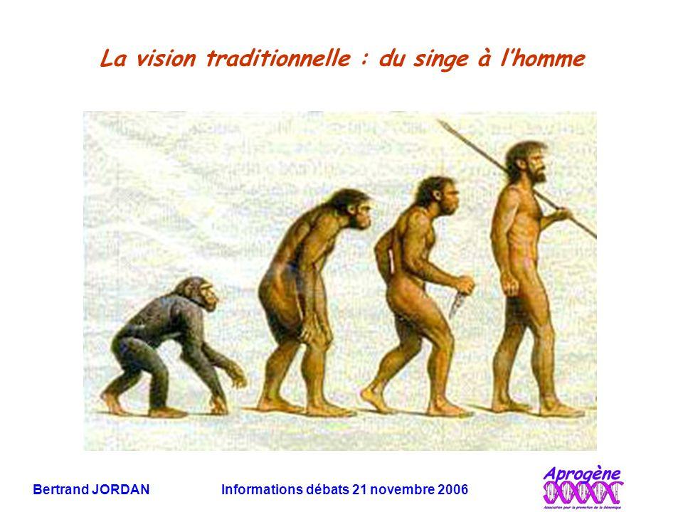 Bertrand JORDAN Informations débats 21 novembre 2006 La vision traditionnelle : du singe à l'homme