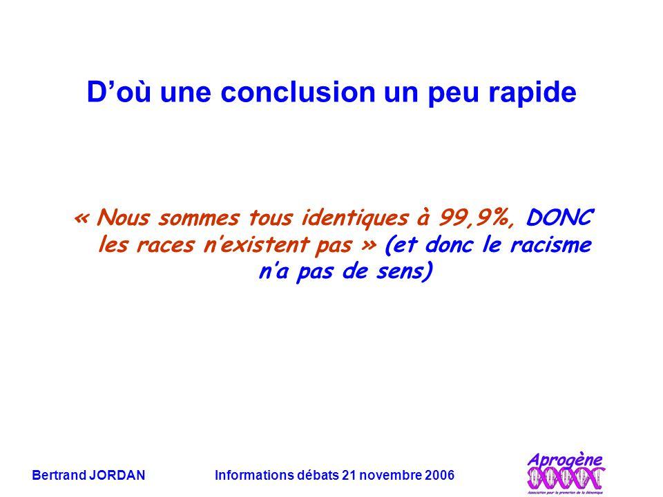 Bertrand JORDAN Informations débats 21 novembre 2006 D'où une conclusion un peu rapide « Nous sommes tous identiques à 99,9%, DONC les races n'existen