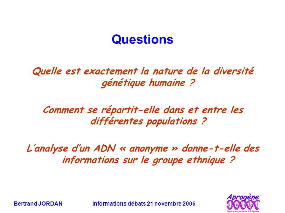Bertrand JORDAN Informations débats 21 novembre 2006 Questions Quelle est exactement la nature de la diversité génétique humaine ? Comment se répartit