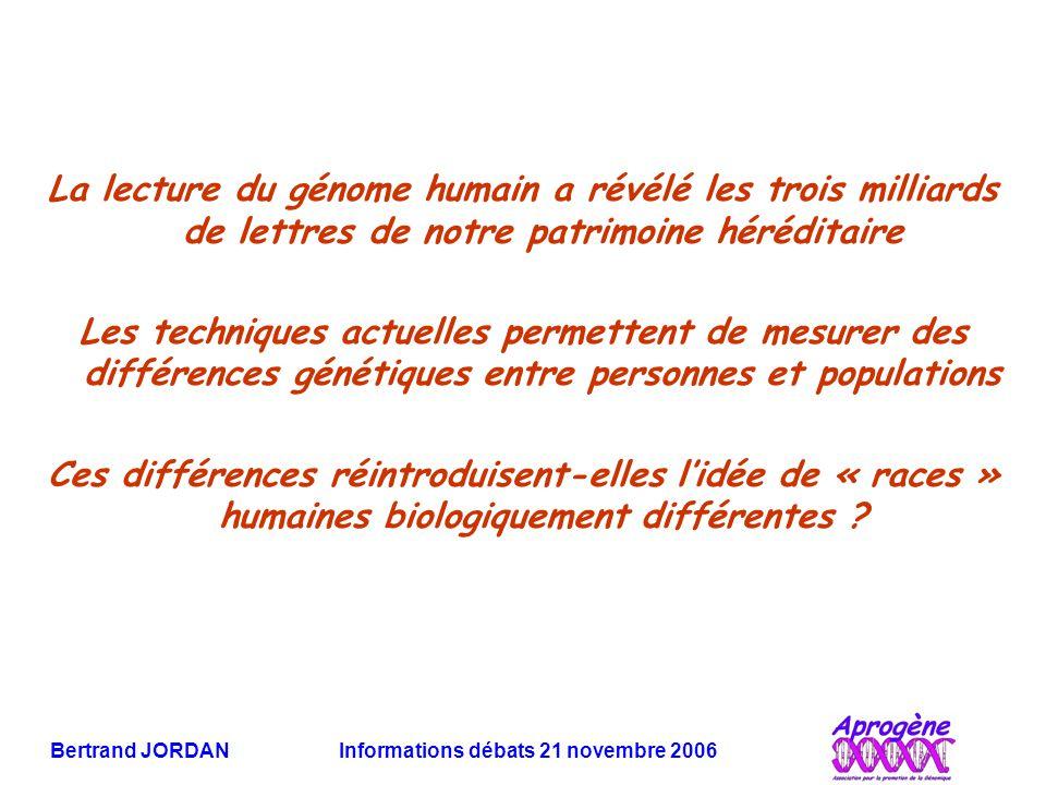 Bertrand JORDAN Informations débats 21 novembre 2006 La lecture du génome humain a révélé les trois milliards de lettres de notre patrimoine héréditai