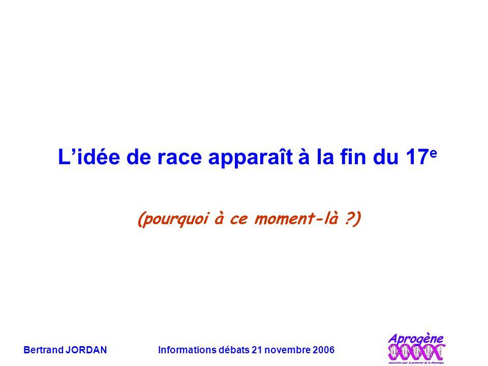 Bertrand JORDAN Informations débats 21 novembre 2006 Les SNPs définissent ils des groupes humains .