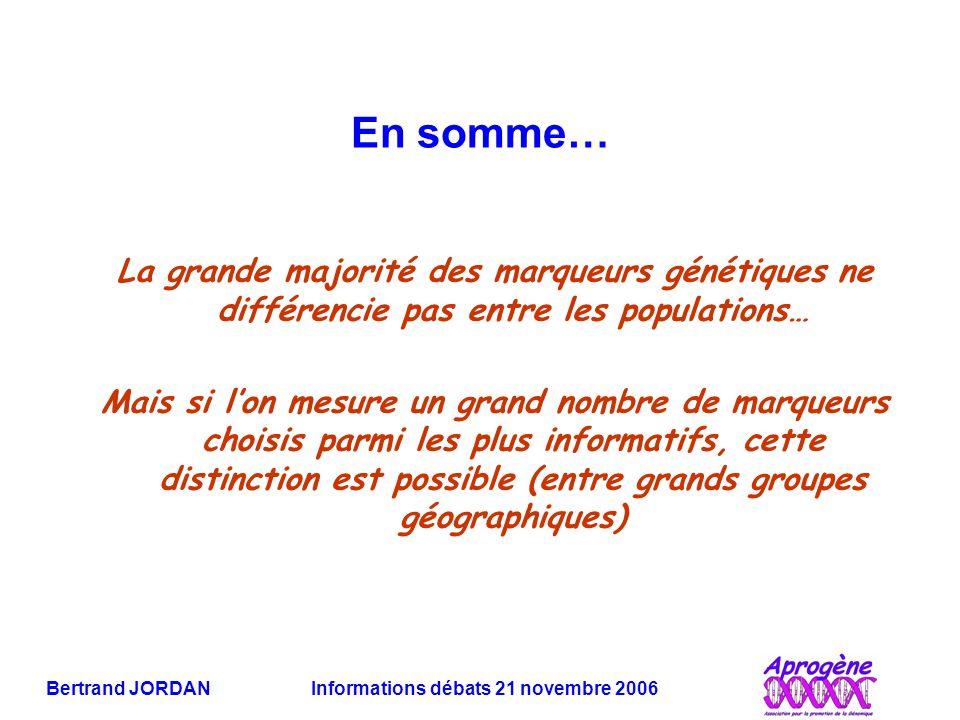 Bertrand JORDAN Informations débats 21 novembre 2006 En somme… La grande majorité des marqueurs génétiques ne différencie pas entre les populations… M
