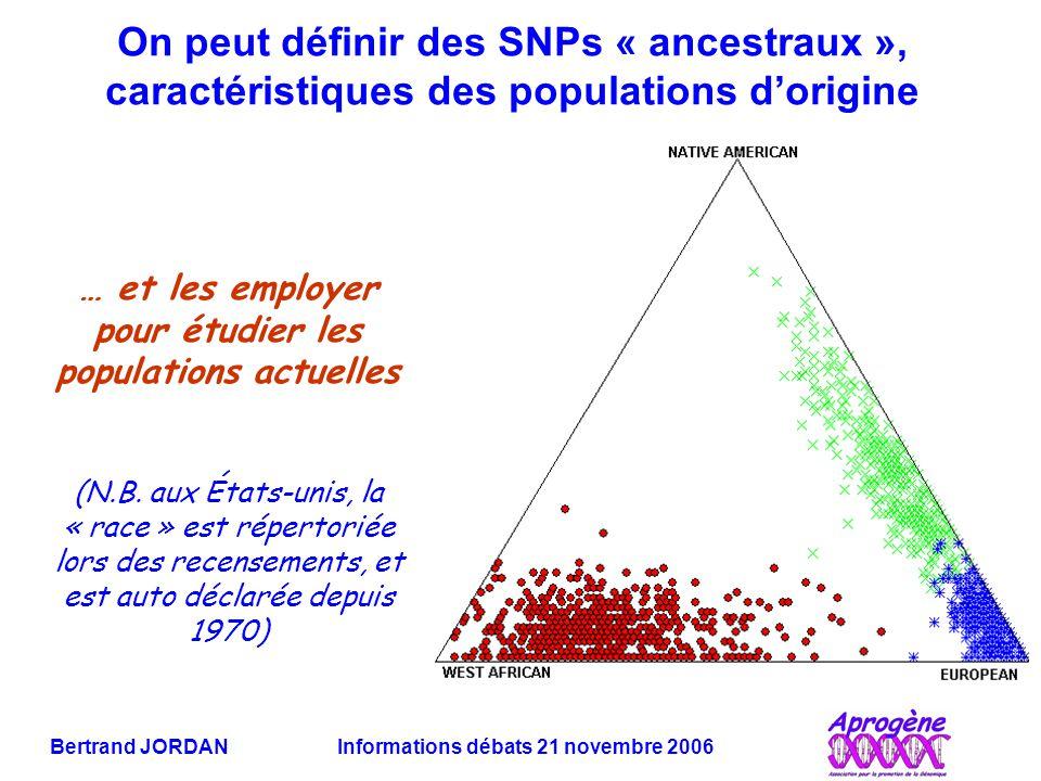 Bertrand JORDAN Informations débats 21 novembre 2006 On peut définir des SNPs « ancestraux », caractéristiques des populations d'origine … et les employer pour étudier les populations actuelles (N.B.