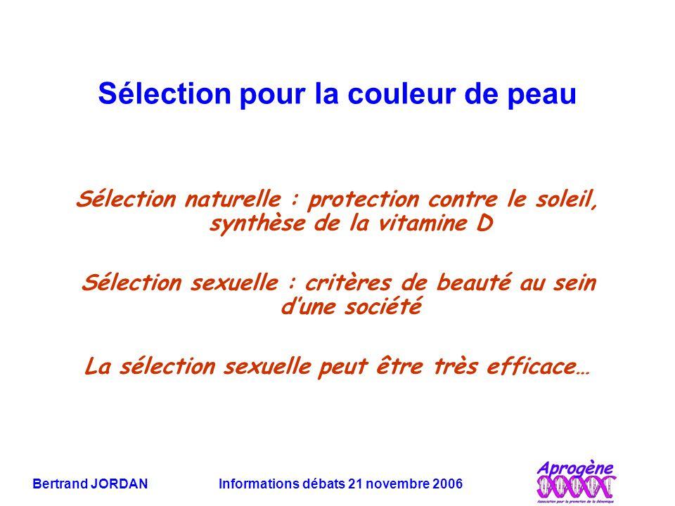 Bertrand JORDAN Informations débats 21 novembre 2006 Sélection pour la couleur de peau Sélection naturelle : protection contre le soleil, synthèse de la vitamine D Sélection sexuelle : critères de beauté au sein d'une société La sélection sexuelle peut être très efficace…
