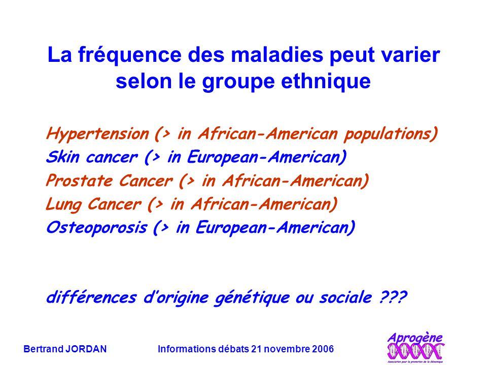 Bertrand JORDAN Informations débats 21 novembre 2006 La fréquence des maladies peut varier selon le groupe ethnique Hypertension (> in African-America