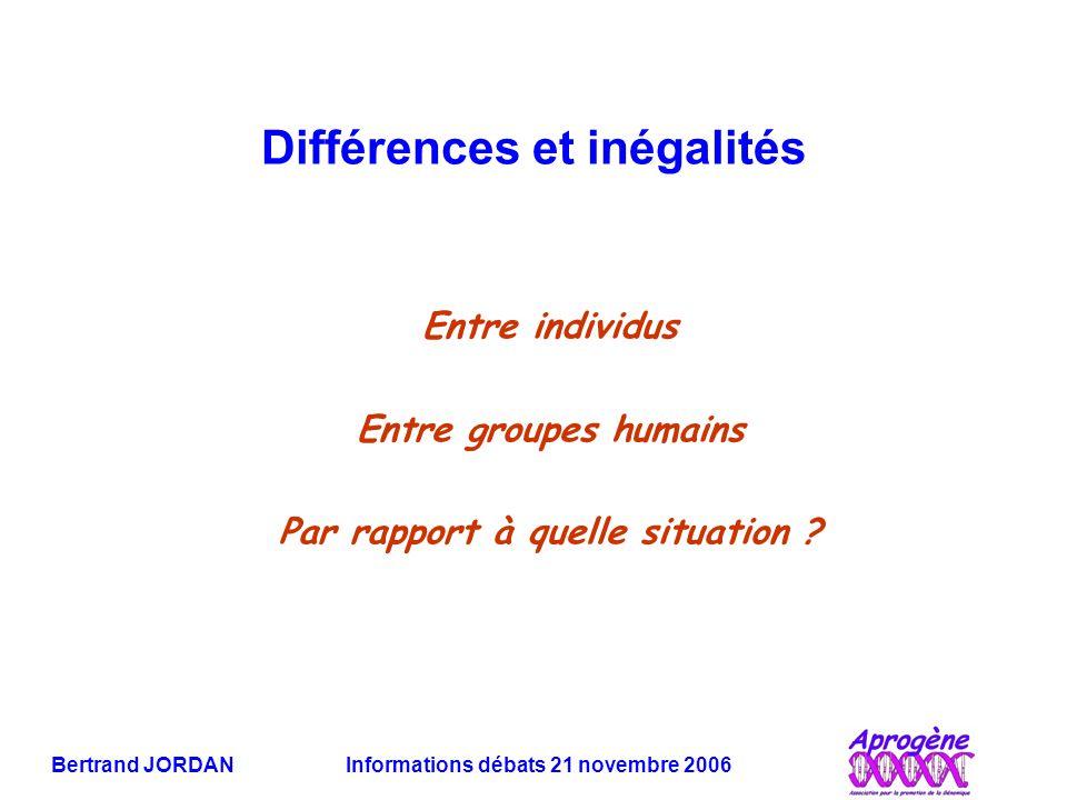 Bertrand JORDAN Informations débats 21 novembre 2006 Différences et inégalités Entre individus Entre groupes humains Par rapport à quelle situation ?