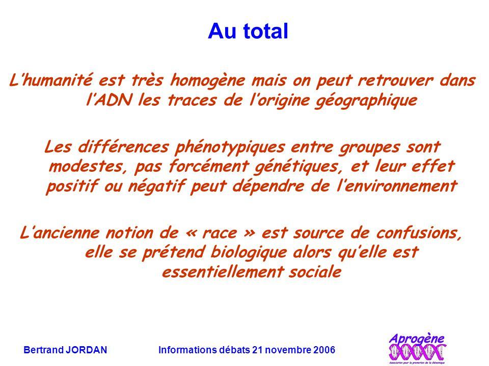 Bertrand JORDAN Informations débats 21 novembre 2006 Au total L'humanité est très homogène mais on peut retrouver dans l'ADN les traces de l'origine g