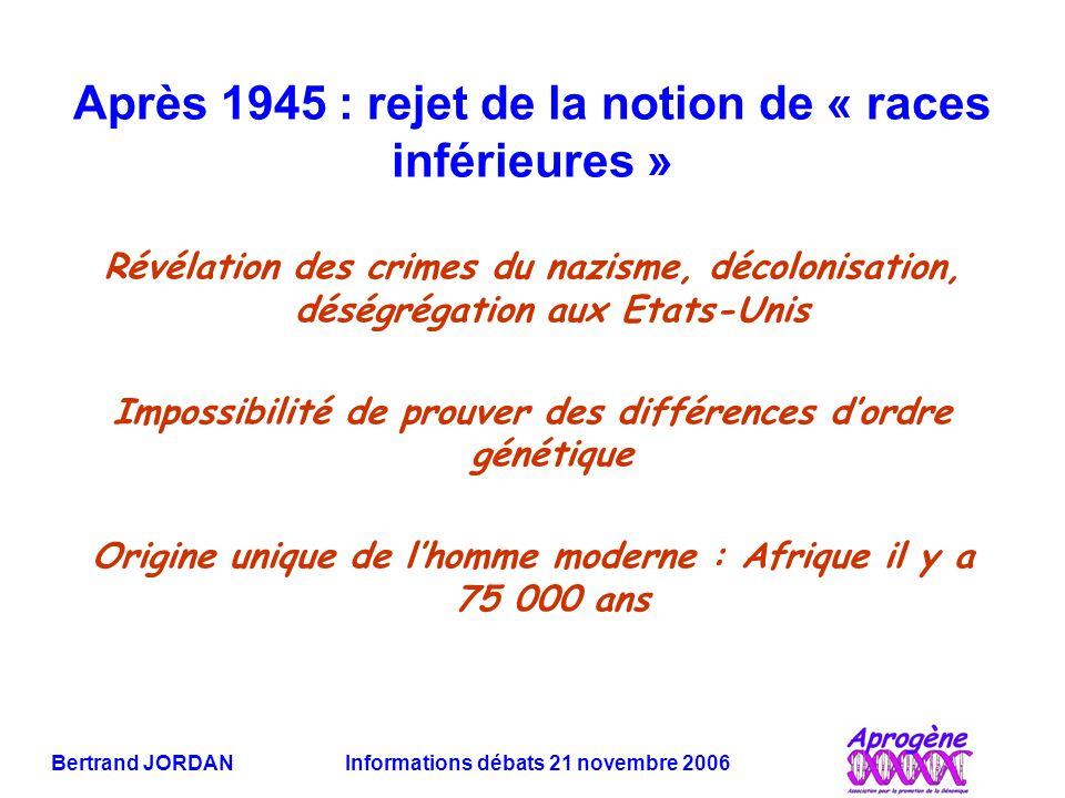 Bertrand JORDAN Informations débats 21 novembre 2006 Après 1945 : rejet de la notion de « races inférieures » Révélation des crimes du nazisme, décolonisation, déségrégation aux Etats-Unis Impossibilité de prouver des différences d'ordre génétique Origine unique de l'homme moderne : Afrique il y a 75 000 ans