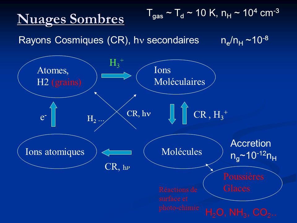 Nuages Sombres Ions Moléculaires Atomes, H2 (grains) Ions atomiquesMolécules CR, h e-e- CR, H 3 + CR, h H 2... H3+H3+ Poussières Glaces Réactions de s