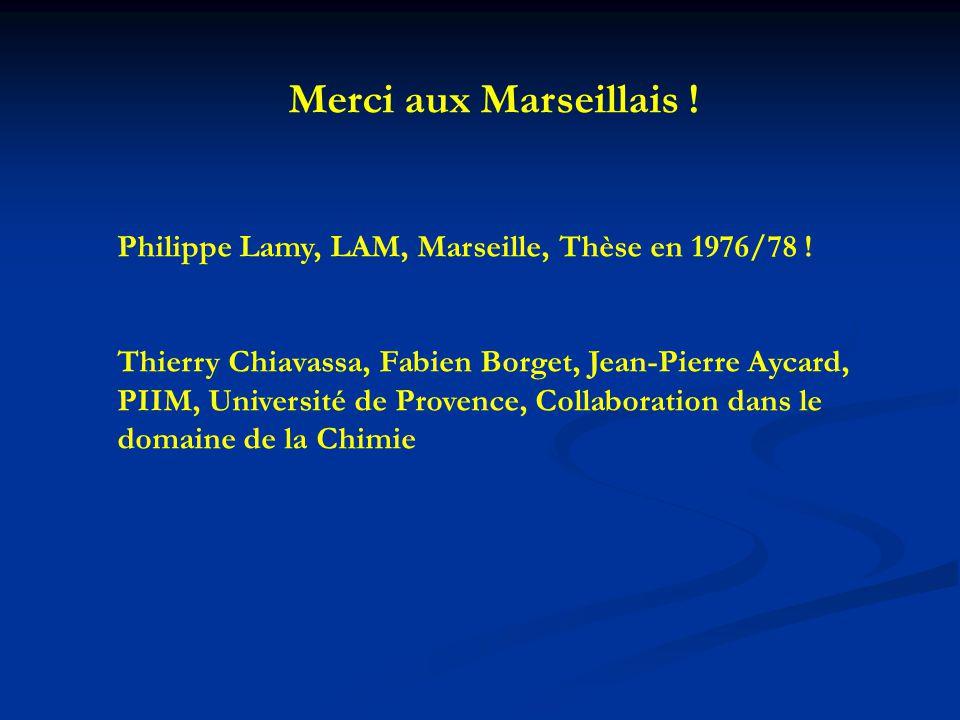 Merci aux Marseillais ! Philippe Lamy, LAM, Marseille, Thèse en 1976/78 ! Thierry Chiavassa, Fabien Borget, Jean-Pierre Aycard, PIIM, Université de Pr