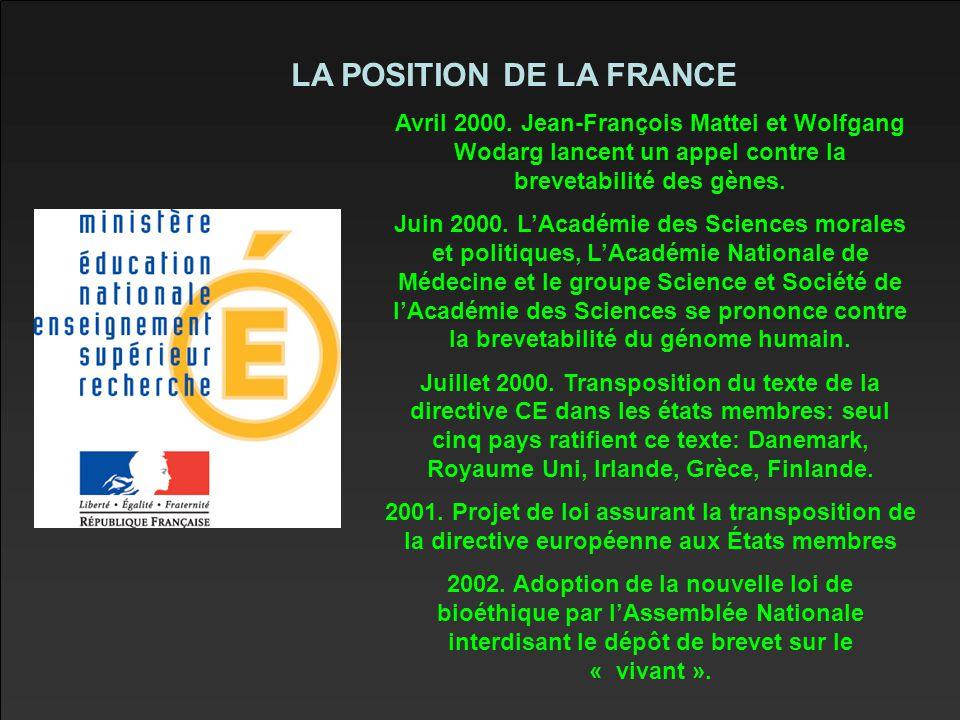 LA POSITION DE LA FRANCE Avril 2000.