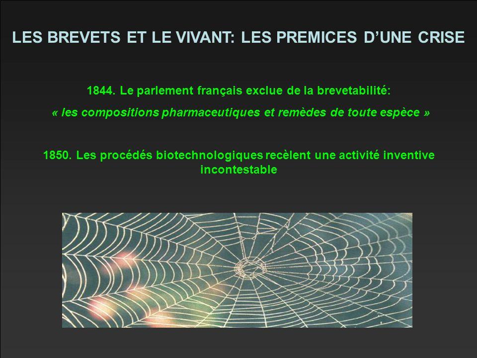 LES BREVETS ET LE VIVANT: LES PREMICES D'UNE CRISE 1844.