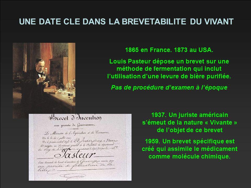 UNE DATE CLE DANS LA BREVETABILITE DU VIVANT 1865 en France.