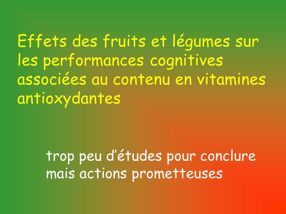 Effets des fruits et légumes sur les performances cognitives associées au contenu en vitamines antioxydantes trop peu d'études pour conclure mais actions prometteuses