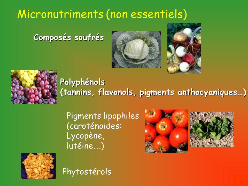 Micronutriments (non essentiels) Polyphénols (tannins, flavonols, pigments anthocyaniques…) Pigments lipophiles (caroténoides: Lycopène, lutéine….) Composés soufrés Phytostérols