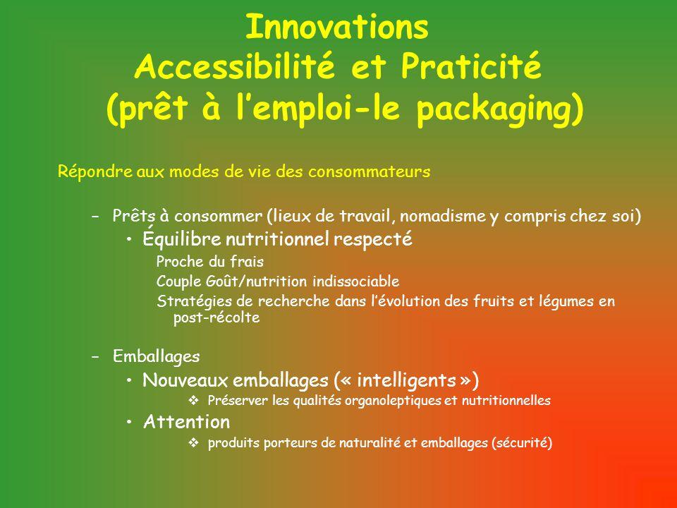 Innovations Accessibilité et Praticité (prêt à l'emploi-le packaging) Répondre aux modes de vie des consommateurs –Prêts à consommer (lieux de travail, nomadisme y compris chez soi) Équilibre nutritionnel respecté Proche du frais Couple Goût/nutrition indissociable Stratégies de recherche dans l'évolution des fruits et légumes en post-récolte –Emballages Nouveaux emballages (« intelligents »)  Préserver les qualités organoleptiques et nutritionnelles Attention  produits porteurs de naturalité et emballages (sécurité)