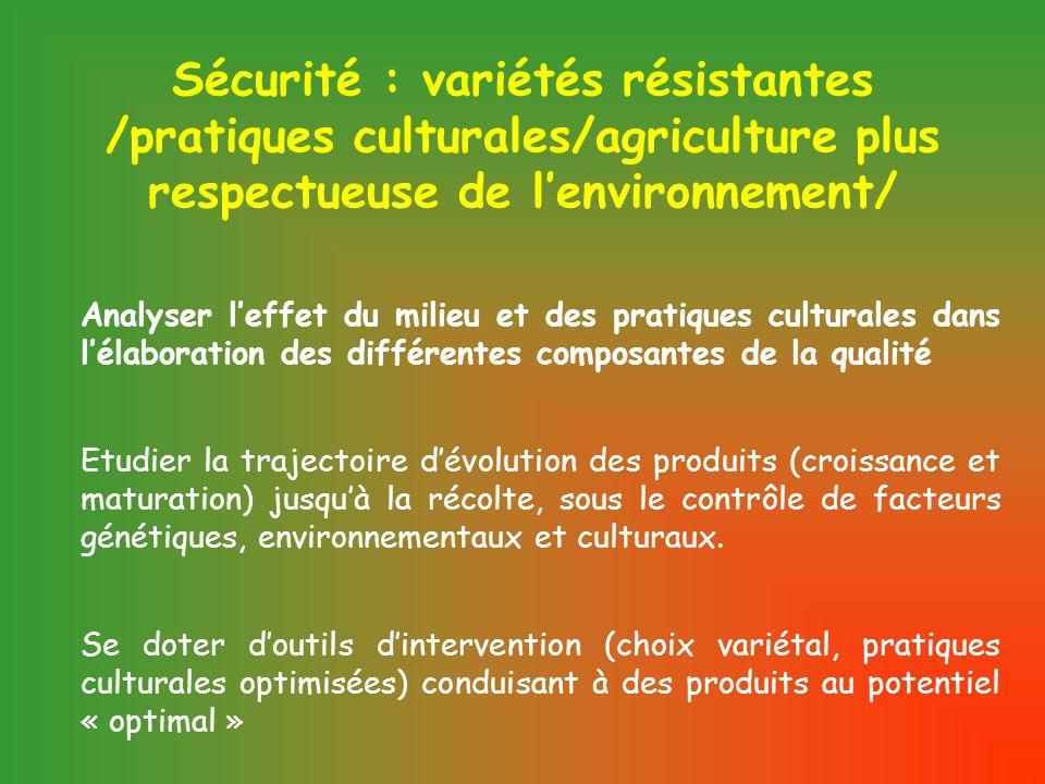 Sécurité : variétés résistantes /pratiques culturales/agriculture plus respectueuse de l'environnement/ Analyser l'effet du milieu et des pratiques culturales dans l'élaboration des différentes composantes de la qualité Etudier la trajectoire d'évolution des produits (croissance et maturation) jusqu'à la récolte, sous le contrôle de facteurs génétiques, environnementaux et culturaux.