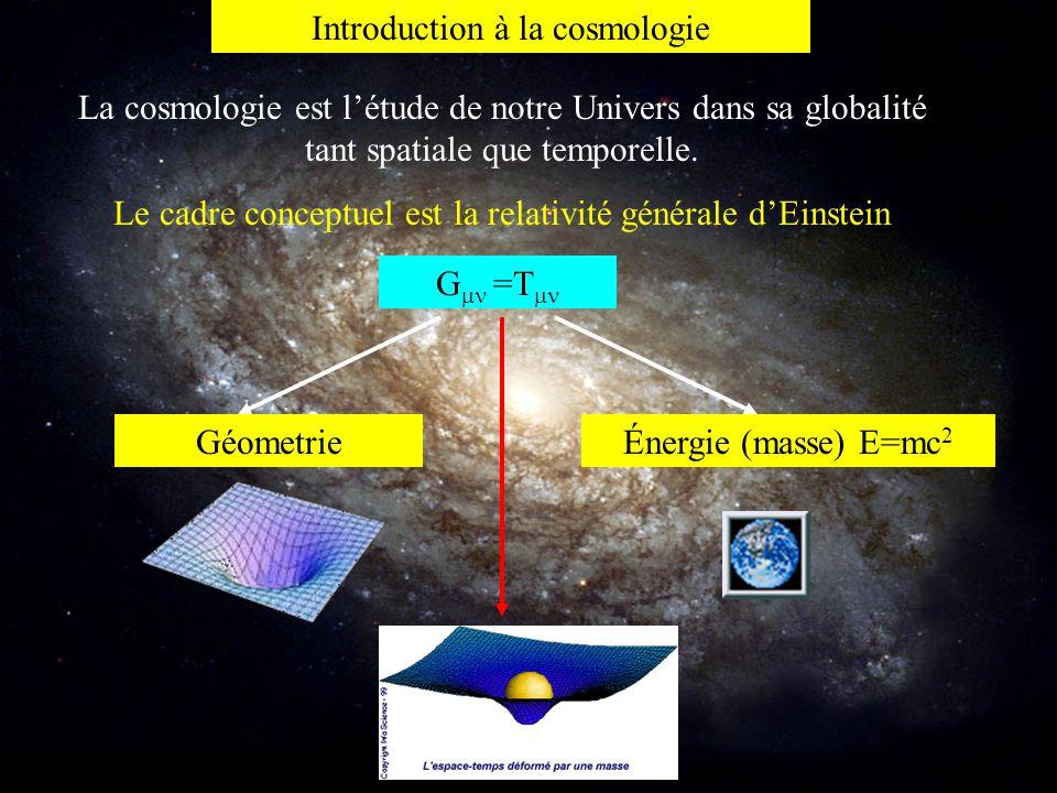 Introduction à la cosmologie La cosmologie est l'étude de notre Univers dans sa globalité tant spatiale que temporelle. Le cadre conceptuel est la rel