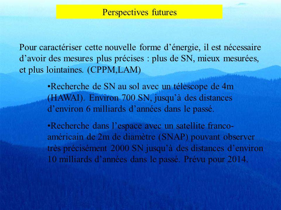Perspectives futures Pour caractériser cette nouvelle forme d'énergie, il est nécessaire d'avoir des mesures plus précises : plus de SN, mieux mesurée