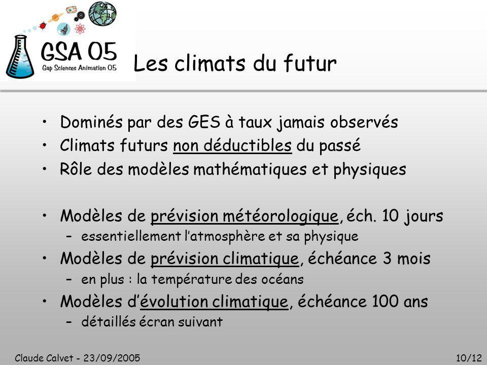 Claude Calvet - 23/09/200510/12 Les climats du futur Dominés par des GES à taux jamais observés Climats futurs non déductibles du passé Rôle des modèles mathématiques et physiques Modèles de prévision météorologique, éch.