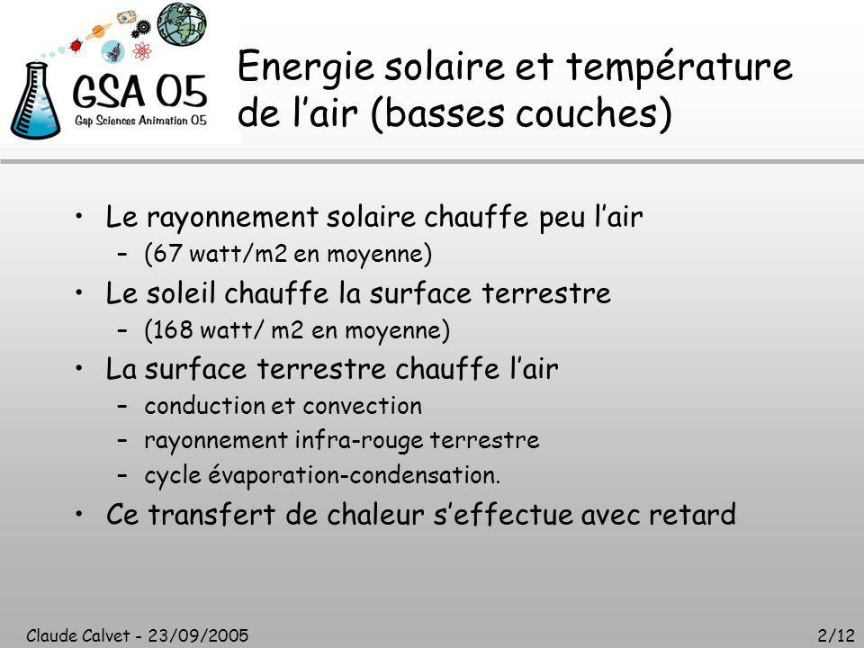 Claude Calvet - 23/09/20052/12 Energie solaire et température de l'air (basses couches) Le rayonnement solaire chauffe peu l'air –(67 watt/m2 en moyenne) Le soleil chauffe la surface terrestre –(168 watt/ m2 en moyenne) La surface terrestre chauffe l'air –conduction et convection –rayonnement infra-rouge terrestre –cycle évaporation-condensation.