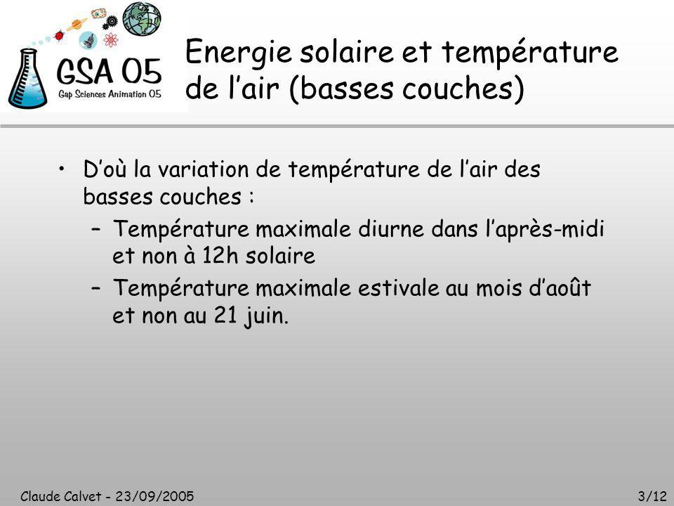 Claude Calvet - 23/09/20053/12 Energie solaire et température de l'air (basses couches) D'où la variation de température de l'air des basses couches : –Température maximale diurne dans l'après-midi et non à 12h solaire –Température maximale estivale au mois d'août et non au 21 juin.