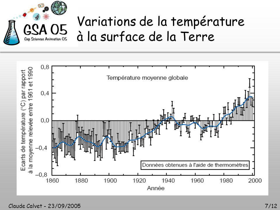 Claude Calvet - 23/09/20057/12 Variations de la température à la surface de la Terre