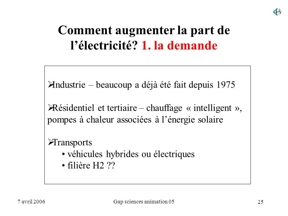 25 7 avril 2006Gap sciences animation 05 Comment augmenter la part de l'électricité? 1. la demande  Industrie – beaucoup a déjà été fait depuis 1975