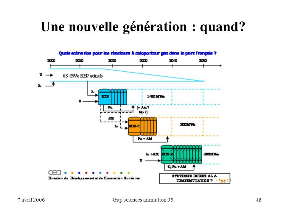 48 7 avril 2006Gap sciences animation 05 Une nouvelle génération : quand?