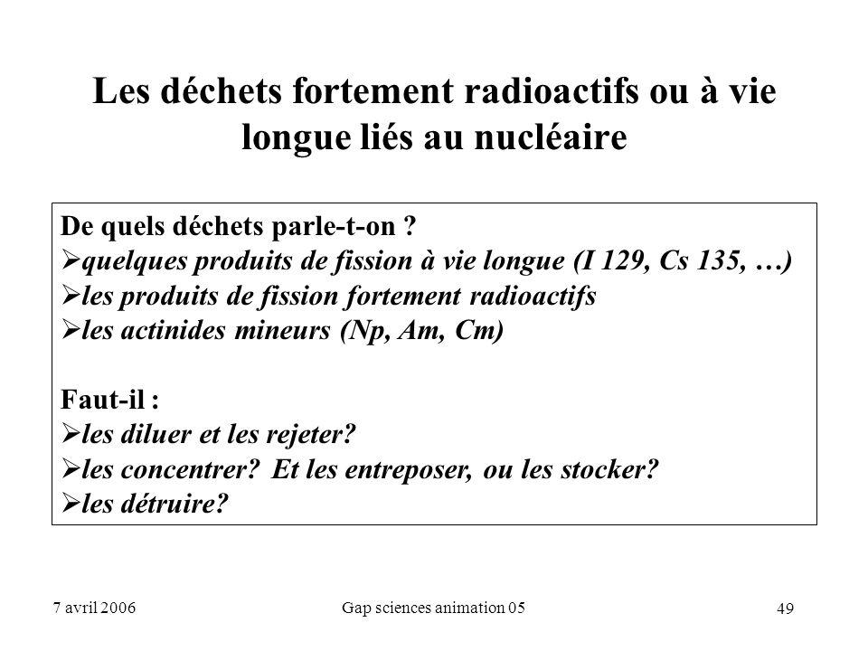 49 7 avril 2006Gap sciences animation 05 Les déchets fortement radioactifs ou à vie longue liés au nucléaire De quels déchets parle-t-on ?  quelques
