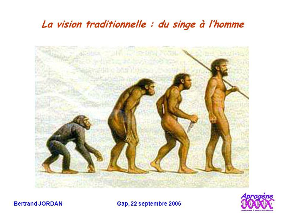 Bertrand JORDAN Gap, 22 septembre 2006 La vision traditionnelle : du singe à l'homme
