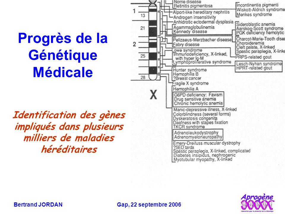Bertrand JORDAN Gap, 22 septembre 2006 Identification des gènes impliqués dans plusieurs milliers de maladies héréditaires Progrès de la Génétique Médicale