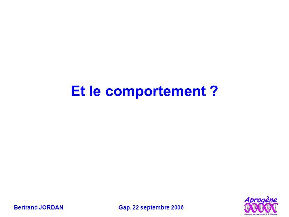 Bertrand JORDAN Gap, 22 septembre 2006 Et le comportement