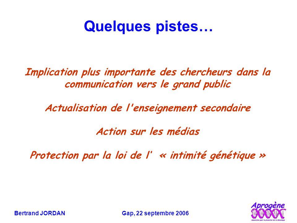 Bertrand JORDAN Gap, 22 septembre 2006 Quelques pistes… Implication plus importante des chercheurs dans la communication vers le grand public Actualisation de l enseignement secondaire Action sur les médias Protection par la loi de l' « intimité génétique »
