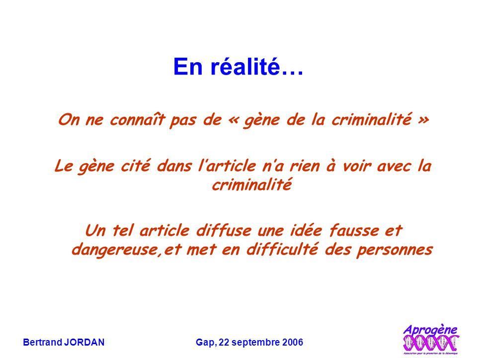 Bertrand JORDAN Gap, 22 septembre 2006 Le gène défectueux est transmis des parents aux enfants