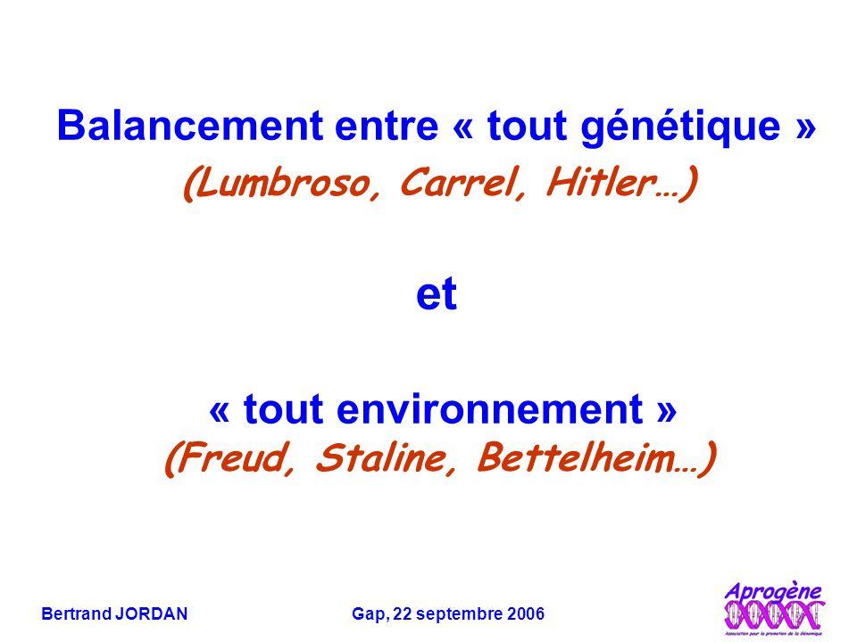 Bertrand JORDAN Gap, 22 septembre 2006 Balancement entre « tout génétique » (Lumbroso, Carrel, Hitler…) et « tout environnement » (Freud, Staline, Bettelheim…)