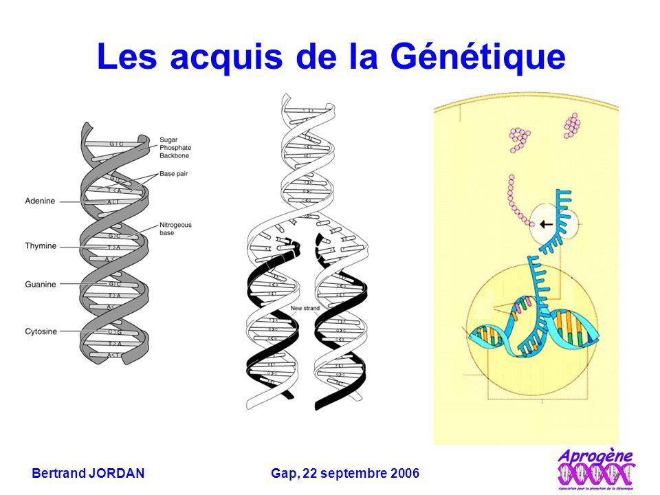 Bertrand JORDAN Gap, 22 septembre 2006 En somme… Influence génétique variable pour les maladies organiques Vulnérabilité génétique pour certaines maladies mentales, gènes multiples… et très difficiles à identifier Déterminisme génétique réel pour certains comportements animaux… … mais extrapolation à l'homme très discutable