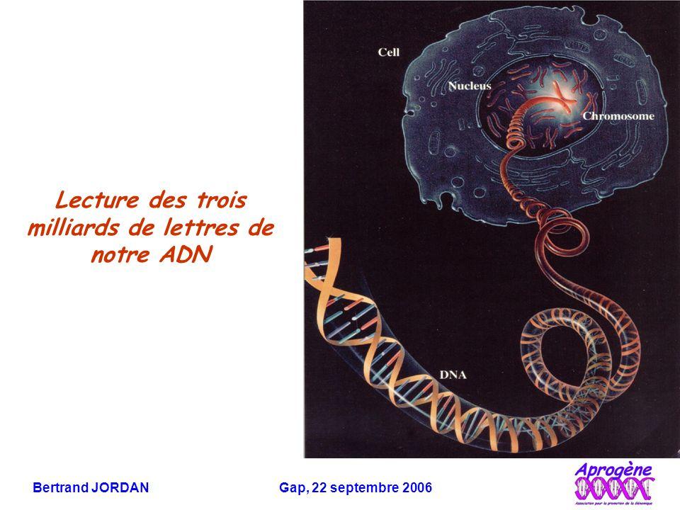 Bertrand JORDAN Gap, 22 septembre 2006 Unité du monde vivant (le même ADN, le même code, presque les mêmes gènes…)