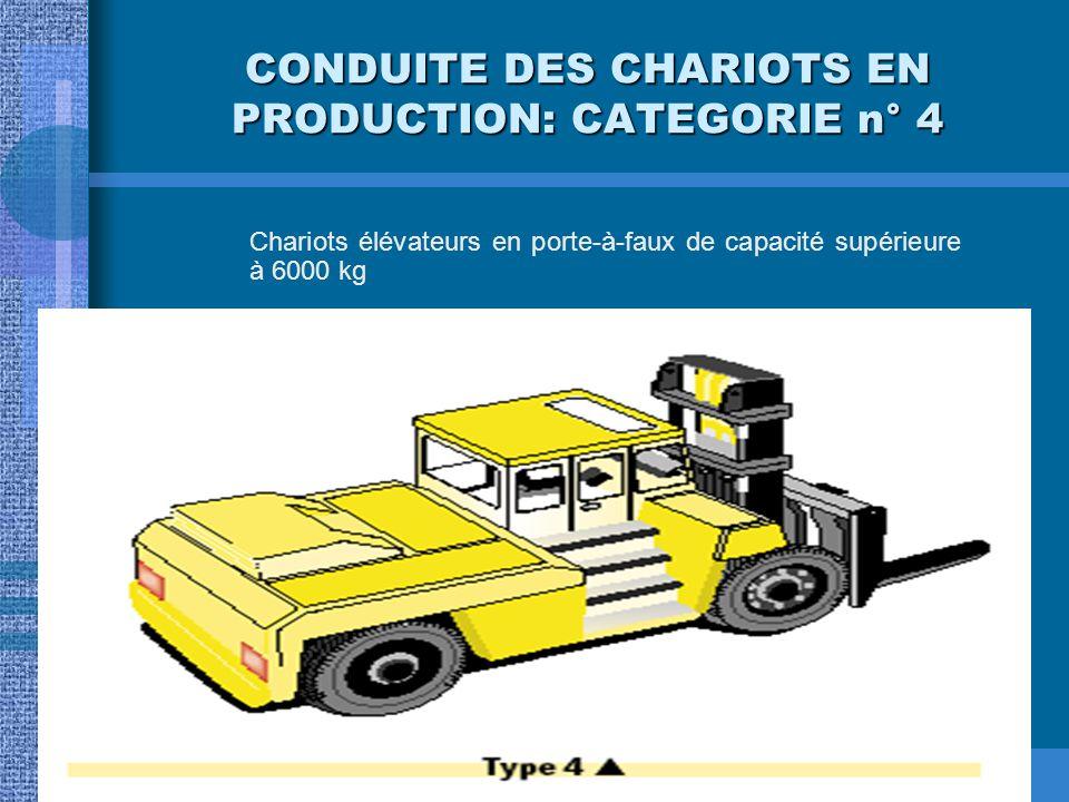 CONDUITE DES CHARIOTS EN PRODUCTION: CATEGORIE n° 3 Chariots élévateurs et en porte-à-faux de capacité inférieure ou égale à 6000 kg
